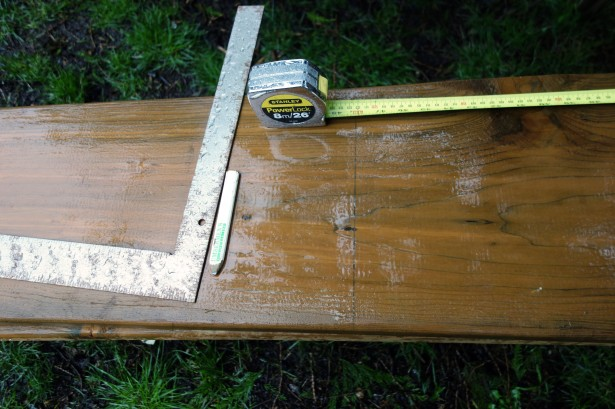 Measure to cut boards in half, to 4' lengths